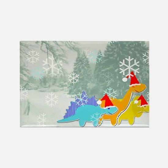 Snow Dinosaurs Rectangle Magnet