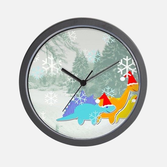 Snow Dinosaurs Wall Clock