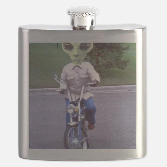 Alien On A Motor Bike Flask