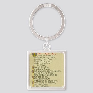 Lords Prayer2 Square Keychain
