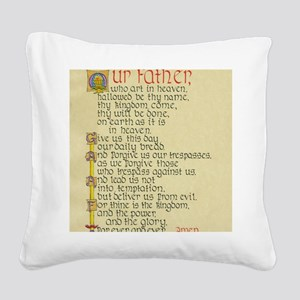 Lords Prayer2 Square Canvas Pillow