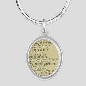 Lords Prayer2 Silver Oval Necklace