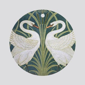 Swan and Rush Round Ornament