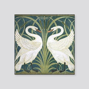 "Swan and Rush Square Sticker 3"" x 3"""