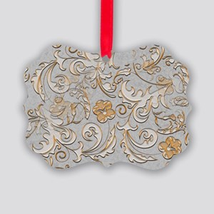 Gold and Silver Scrolls Picture Ornament