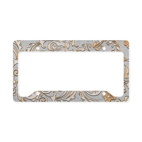 Gold and Silver Scrolls License Plate Holder