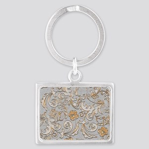 Gold and Silver Scrolls Landscape Keychain