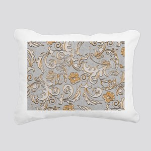 Gold and Silver Scrolls Rectangular Canvas Pillow