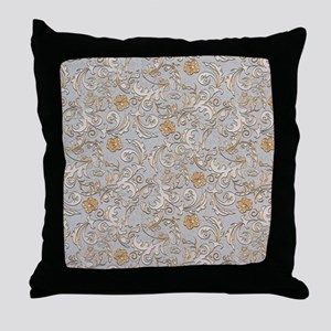 Gold and Silver Scrolls Throw Pillow