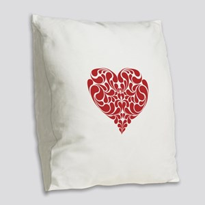 Real Heart Burlap Throw Pillow
