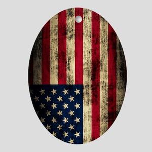 American Flag Grunge Oval Ornament