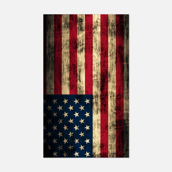 American Flag Grunge Sticker (Rectangle)