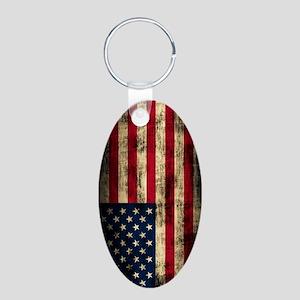 American Flag Grunge Aluminum Oval Keychain