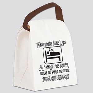 Newtons law of motion - body like Canvas Lunch Bag