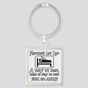 Newtons law of motion - body likes Square Keychain