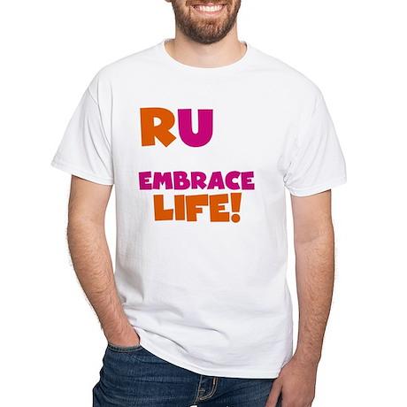 Run and Embrace Life Orange Pink White T-Shirt