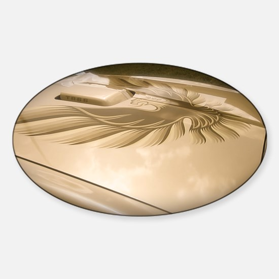 Gold Trans AM Bird Sticker (Oval)