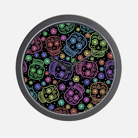 Day Of The Dead Pattern Wall Clock