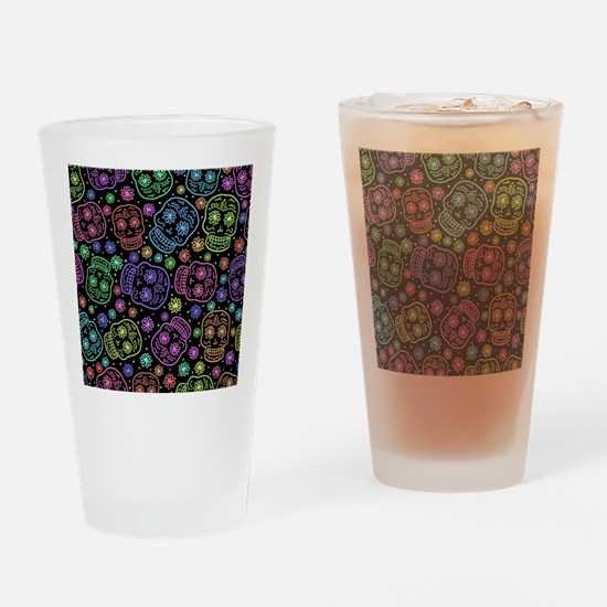 Day Of The Dead Pattern Drinking Glass