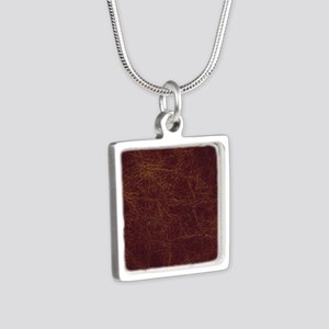 Wild West Leather 1 Silver Square Necklace