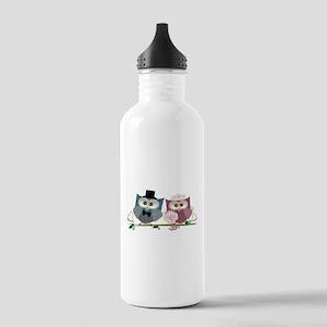 Wedding Owls Art Water Bottle