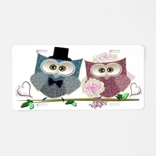 Wedding Owls Art Aluminum License Plate
