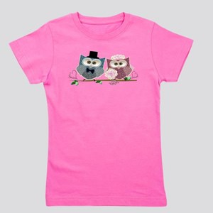 Wedding Owls Art Girl's Tee