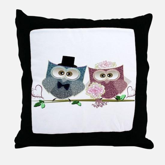 Wedding Owls Art Throw Pillow