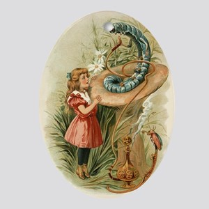 Alice and the Caterpillar Victorian  Oval Ornament