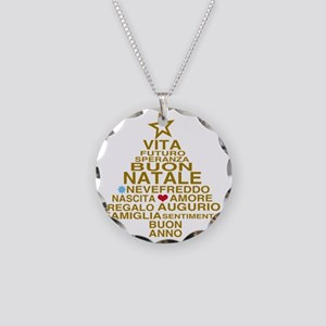 Buon Natale Necklace Circle Charm