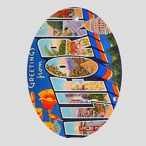 California Vintage Postcard Oval Ornament