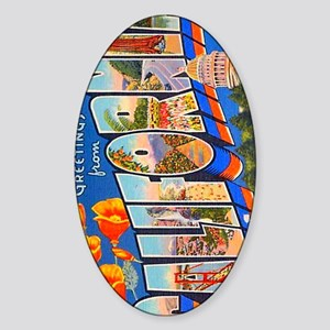 California Vintage Postcard Sticker (Oval)
