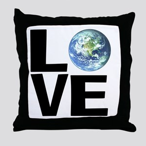 I Love the World Throw Pillow
