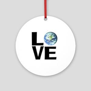 I Love the World Round Ornament