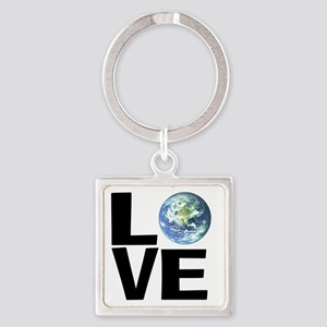 I Love the World Square Keychain