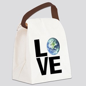 I Love the World Canvas Lunch Bag