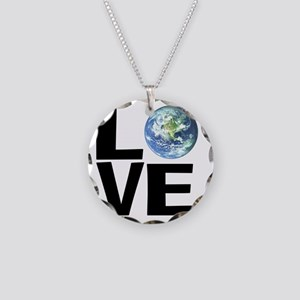 I Love the World Necklace Circle Charm