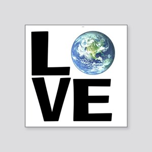 "I Love the World Square Sticker 3"" x 3"""