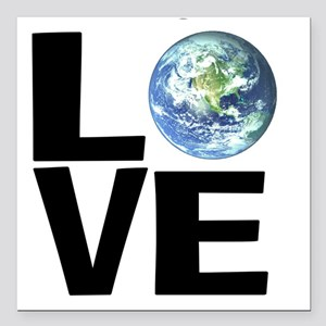 "I Love the World Square Car Magnet 3"" x 3"""
