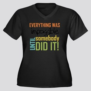 Impossible U Women's Plus Size Dark V-Neck T-Shirt