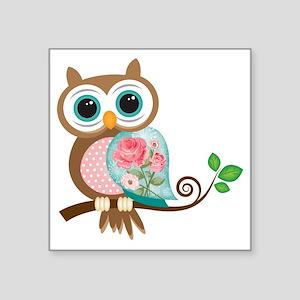 "Vintage Owl Square Sticker 3"" x 3"""