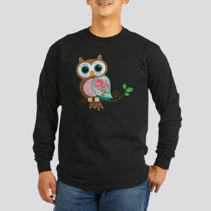 Vintage Owl Long Sleeve Dark T-Shirt