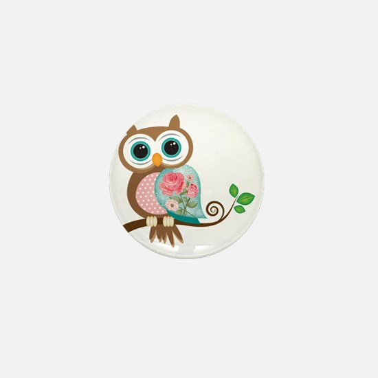Vintage Owl Mini Button