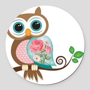 Vintage Owl Round Car Magnet