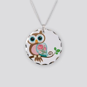 Vintage Owl Necklace Circle Charm