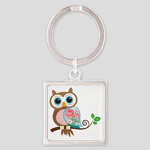 Vintage Owl Square Keychain