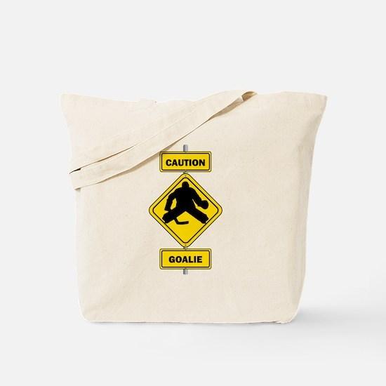 Caution Goalie Sign Tote Bag
