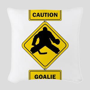 Caution Goalie Sign Woven Throw Pillow
