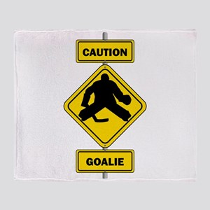 Caution Goalie Sign Throw Blanket