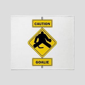 Caution Goalie Sign Throw Blanket